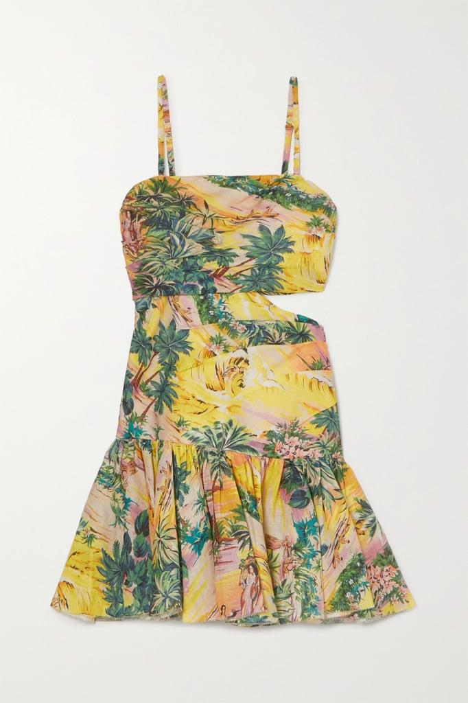 Zimmermann Juliette Cutout Pleated Printed Linen Mini Dress