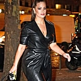Work a thin pair of hoops with an edgy leather trench dress, like Ashley Graham.