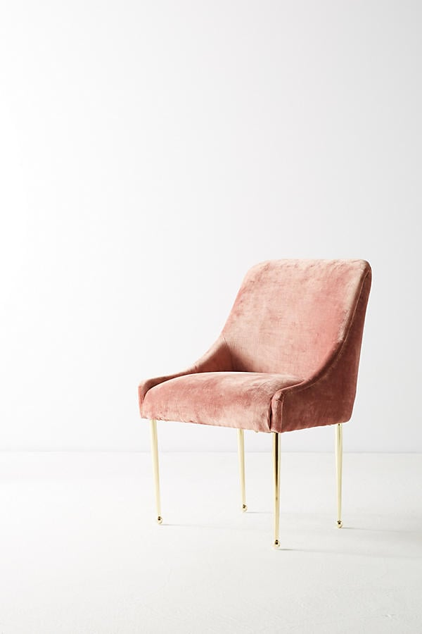 Anthropologie Slub Velvet Elowen Chair Pink Accent