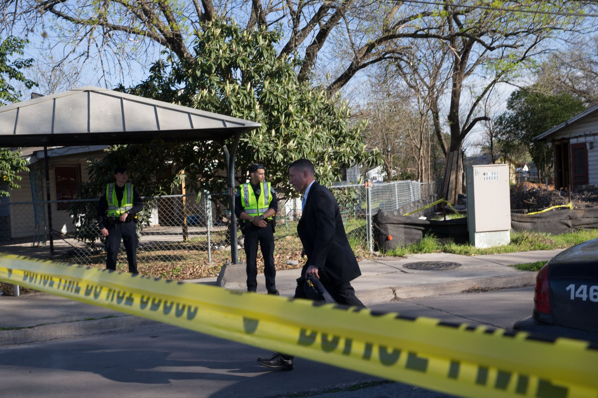 The scene near Galindo Street in Austin, Texas on March 12, 2018 where a woman in her 70s was injured in an explosion. The incident was the second reported explosion on Monday and the third in two weeks.Two parcel bombs rattled the US city of Austin on Monday, March 12, 2018, ten days after a similar deadly blast, as Texas police said they were investigating the possibility that the attacks were serial hate crimes. The explosions came as Austin, the state capital and a metropolis of two million people, welcomed hundreds of thousands of visitors for the massive South by Southwest entertainment and media festival. / AFP PHOTO / SUZANNE CORDEIRO        (Photo credit should read SUZANNE CORDEIRO/AFP/Getty Images)