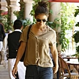 Katie Holmes wearing jeans to lunch.