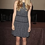 Amanda Seyfried worked a marbled Tibi mini-dress with black piping at the Lovelace press conference at the Mandarin Oriental Hotel in NYC.