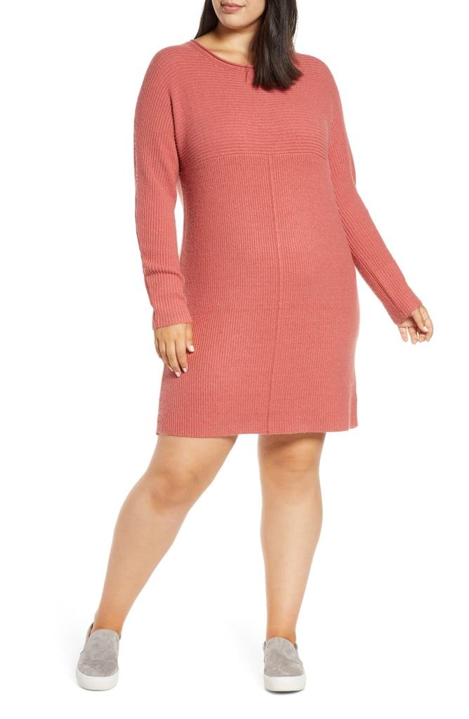 Caslon Long-Sleeve Ribbed Sweater Dress