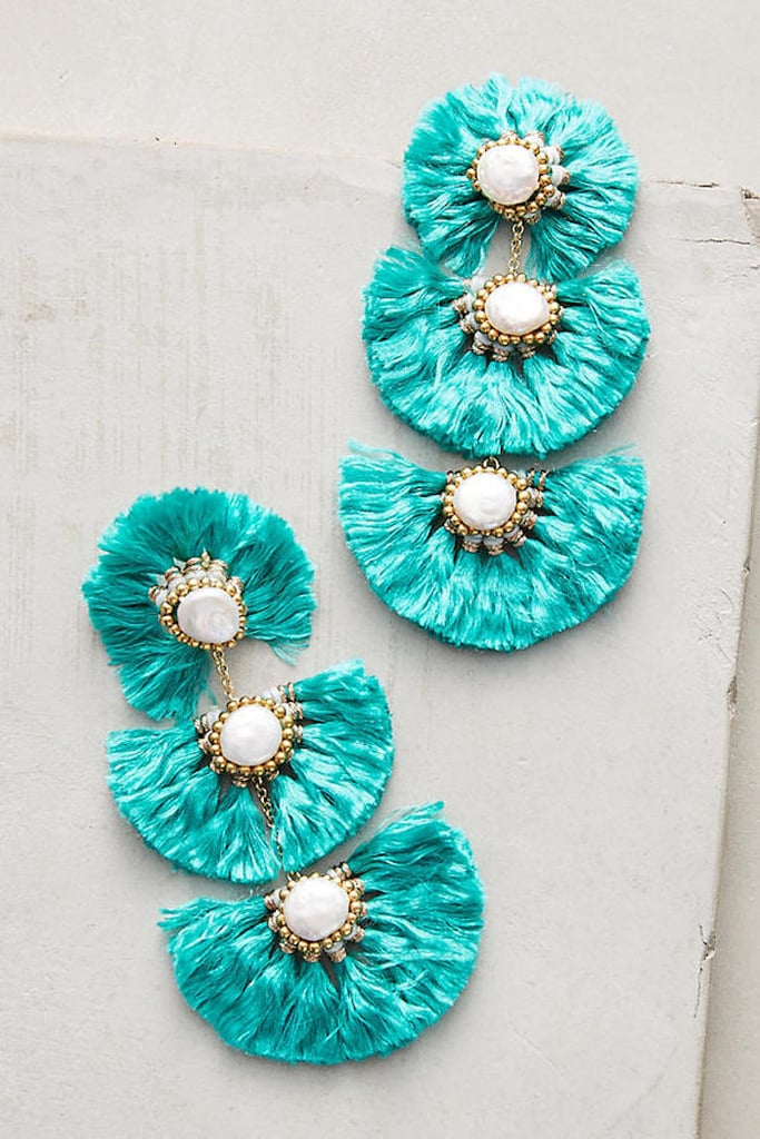 Anthropologie Fringed Pearl Drop Earrings