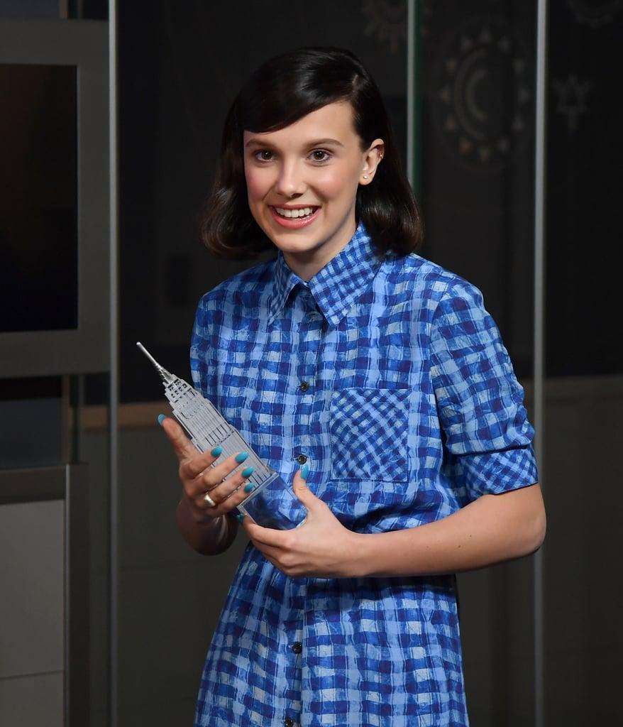 Millie Bobby Brown's Blue Nail Polish In November 2018