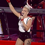 Pink wore a white tank and sequined shorts on stage at the VMAs.