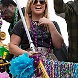 Kelly Clarkson rode on the Endymion Mardi Gras float at the 2013 parade in February in New Orleans.