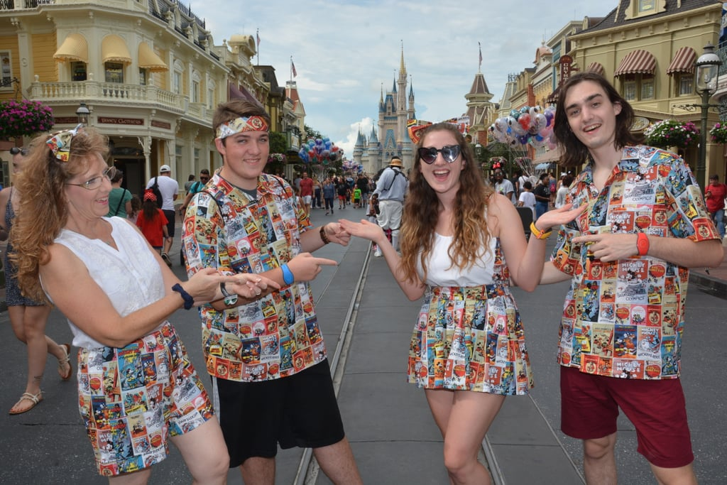 """Sheridan O'Hea, a 20-year-old fashion student from New Jersey, sure knows how to put her sewing talents to good use. In a now-viral Reddit thread, she shared a few photos of matching outfits she handcrafted for her family's annual trip to Disney World, and holy sh*t are they good! Sheridan first became interested in fashion when her grandpa taught her to sew at 8 or 9 years old, and while she admits she didn't do much of it outside of the classroom, she felt inspired thinking about her upcoming family vacation.  """"By the end of July I realized that my Disney vacation was coming up soon and my mom was nagging me to get us matching T-shirts like we do every year,"""" Sheridan told POPSUGAR. """"I decided that this year would be different. I didn't want to be like any other family with obnoxious T-shirts. I wanted obnoxious outfits. Handmade obnoxious outfits.""""      Related:                                                                                                           55 Custom Mickey Ears You're Going to Want For Your Next Disney Vacation               She swung by her local craft store to pick up some supplies, and she admits that she already had a few ideas in mind.  """"I went to JOANN Fabric and went straight to the Disney section,"""" she said. """"I picked out this fabric specifically because I loved the old movie poster design and I thought it was definitely one of the more eye-catching fabrics, which is exactly what I needed. I had a couple ideas of what to make for my family, but I knew that my boyfriend and brother would love their own button-down shirts."""" """"I decided that this year would be different. I didn't want to be like any other family with obnoxious T-shirts. I wanted obnoxious outfits. Handmade obnoxious outfits."""" Sheridan wanted the outfits to come out perfectly. She dedicated all the time she wasn't at work to her ambitious project for a solid week — and despite the time crunch, her effort paid off in spades. Judging by the photos, her family clearly l"""