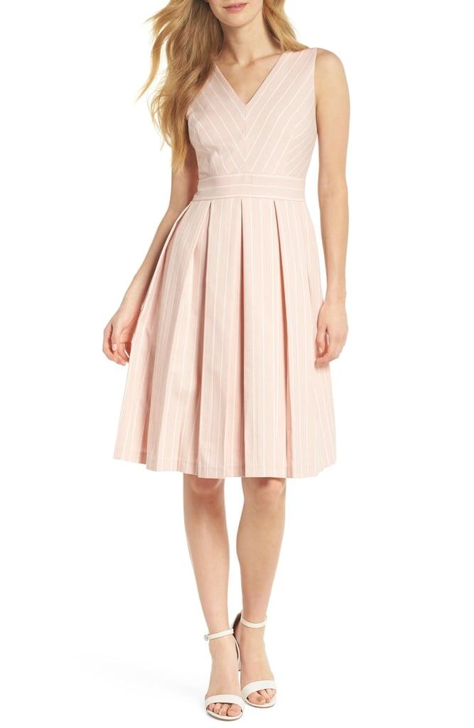 Gal Meets Glam Collection Samantha Slub Stripe Fit & Flare Dress