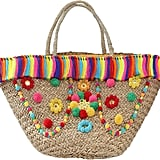 Mystique Key West Pom Pom Straw Basket