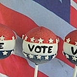 Two very of-the-moment things — cake pops and the election — come together in these festive 2012 Vote Cake Pops ($30 for 12), ideal for a political-themed get-together.