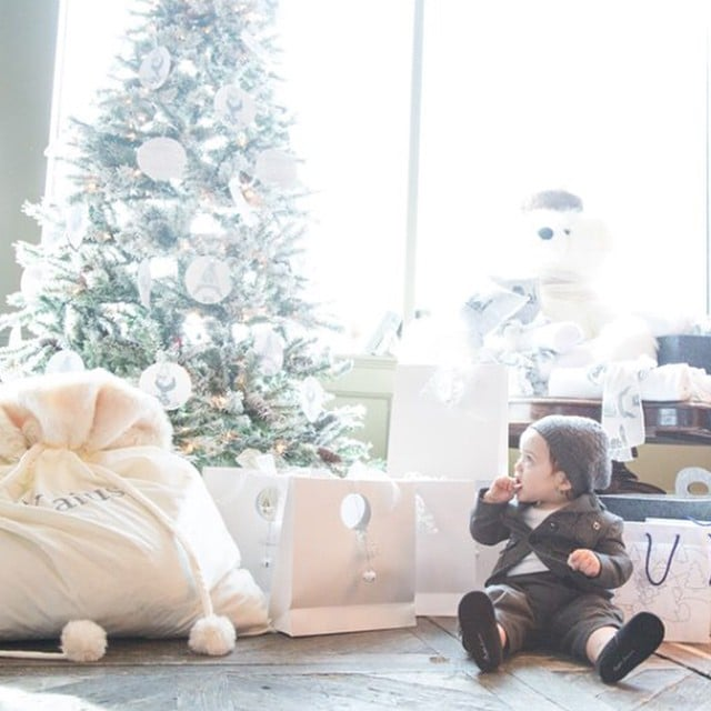 Rachel Zoe's son Kaius Berman looked adorable next to the family's Christmas tree.
