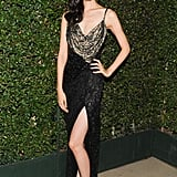 Tao Okamoto showed some leg in a high-slit design while out with Ferragamo in Beverly Hills.
