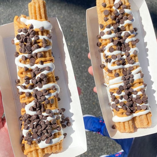 Disneyland's Fluffernutter Churro Topped With Peanut Butter