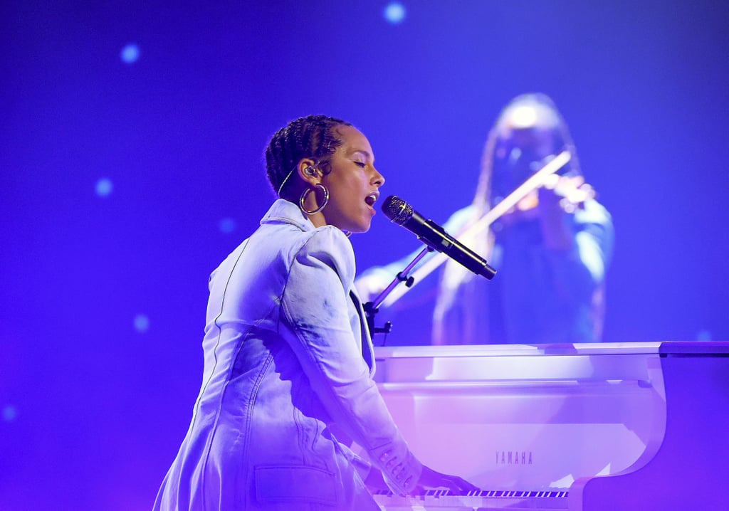 """Something about Alicia Keys's voice always soothes our soul. On Sunday, the singer gave a beautiful performance during the Billboard Music Awards, which was perfectly introduced by Michelle Obama. Celebrating the 20th anniversary of her debut album, Songs in A Minor, Keys sang a medley of some of her greatest hits from the album. Crooning songs like """"A Woman's Worth"""" and """"Fallin'"""" at various pianos on stage, Keys showed off her incredible voice as she hit all the right notes. Needless to say, this performance is making us super nostalgic and taking us right back to 2001 when we would blast her debut album in our rooms. Watch a clip of her amazing performance above.       Related:                                                                                                           Alicia Keys's Billboard Music Awards Crop Top Came With a Dramatic Wrap With a Long Train"""