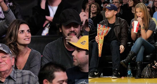 Penelope Cruz, Javier Bardem, Leonardo DiCaprio and Bar Refaeli at a Lakers Game