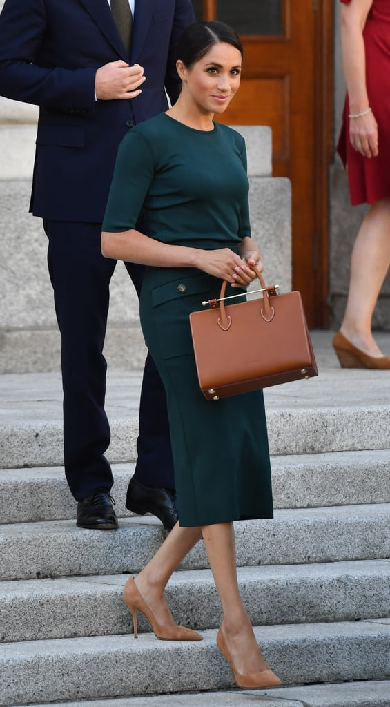 ‎Meghan Markle Carrying a Strathberry Midi Tote Bag in Tan Bridle Leather
