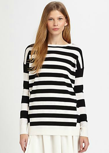 Theory's Tollie Evian striped top ($265) will keep you cozy and right on trend all year. Wear it with layers now, and then throw it over your shoulders or wrap it around your waist when the weather warms up.