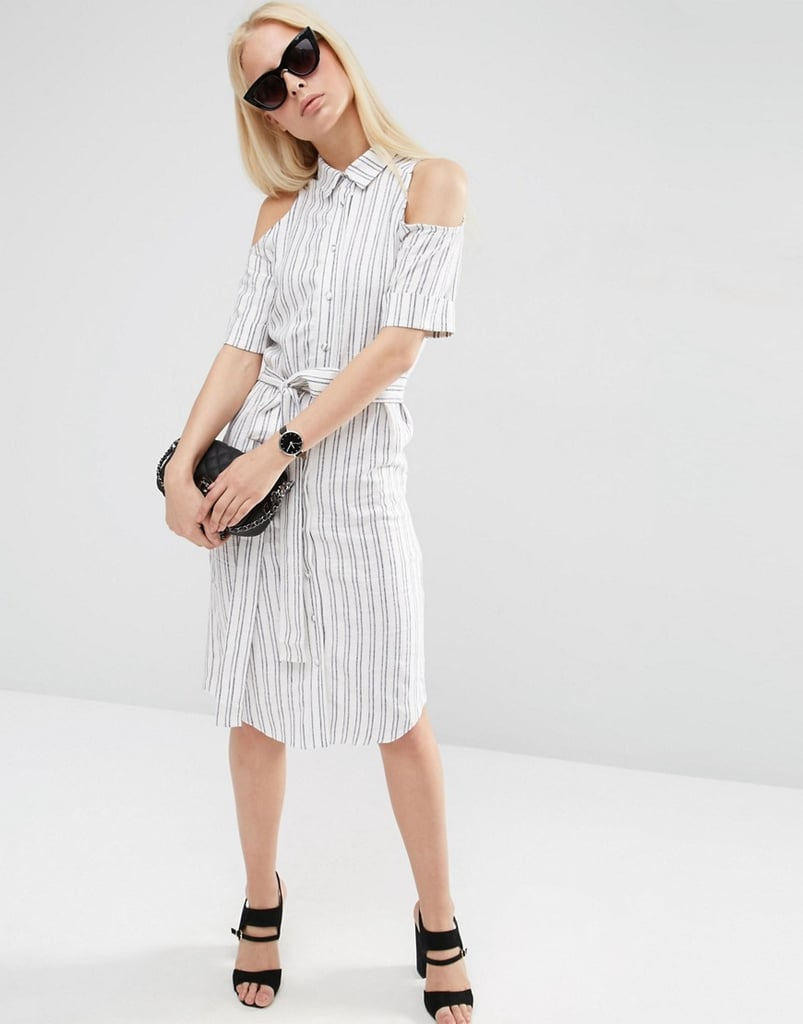 2abd9c84f59468 Cold Shoulder Shirt Dress With Tie in Stripe
