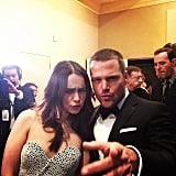 Chris O'Donnell and Emilia Clarke joked around backstage. Source: Instagram user goldenglobes