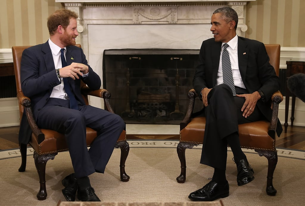 Prince Harry shared a cute moment with the president during a visit to the White House in October 2015.