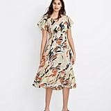 Flutter-Sleeve Ruffle-Waist Midi Dress