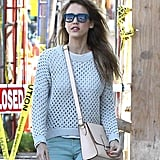 Jessica Alba completed her stylish ensemble with teal Italia Independent wayfarers during a sunny day out in LA. Jump on these Toms teal marine sunglasses (£95) to get Jessica's look.