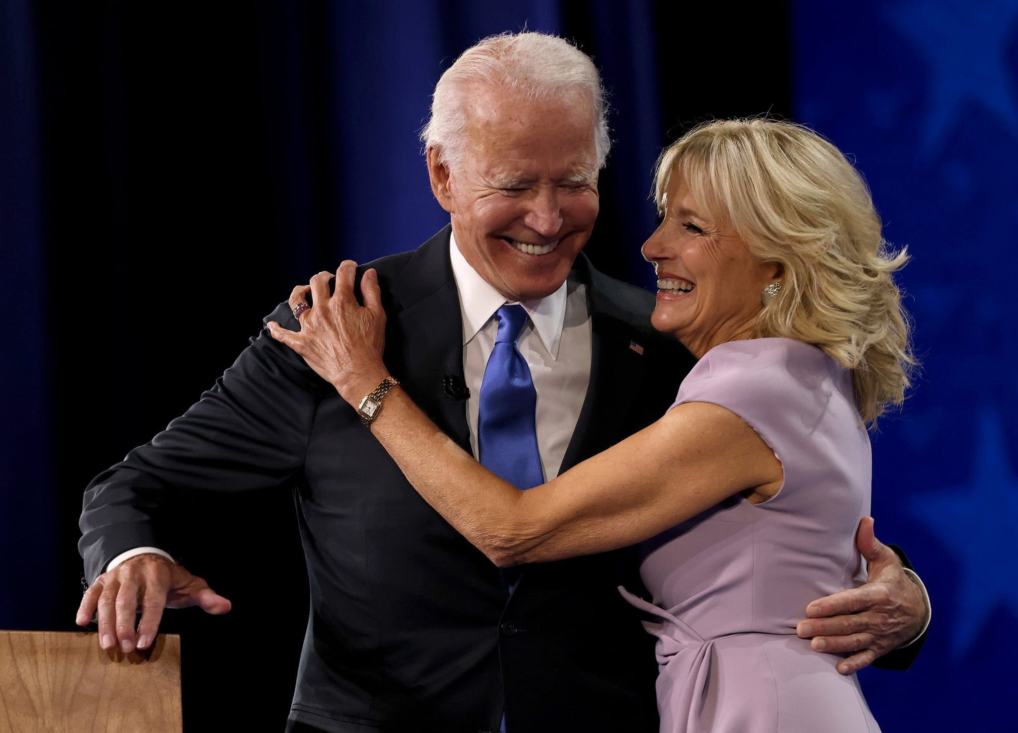 WILMINGTON, DELAWARE - AUGUST 20: : Democratic presidential nominee Joe Biden greets his wife Dr. Jill Biden on the fourth night of the Democratic National Convention from the Chase Centre on August 20, 2020 in Wilmington, Delaware. The convention, which was once expected to draw 50,000 people to Milwaukee, Wisconsin, is now taking place virtually due to the coronavirus pandemic. (Photo by Win McNamee/Getty Images)