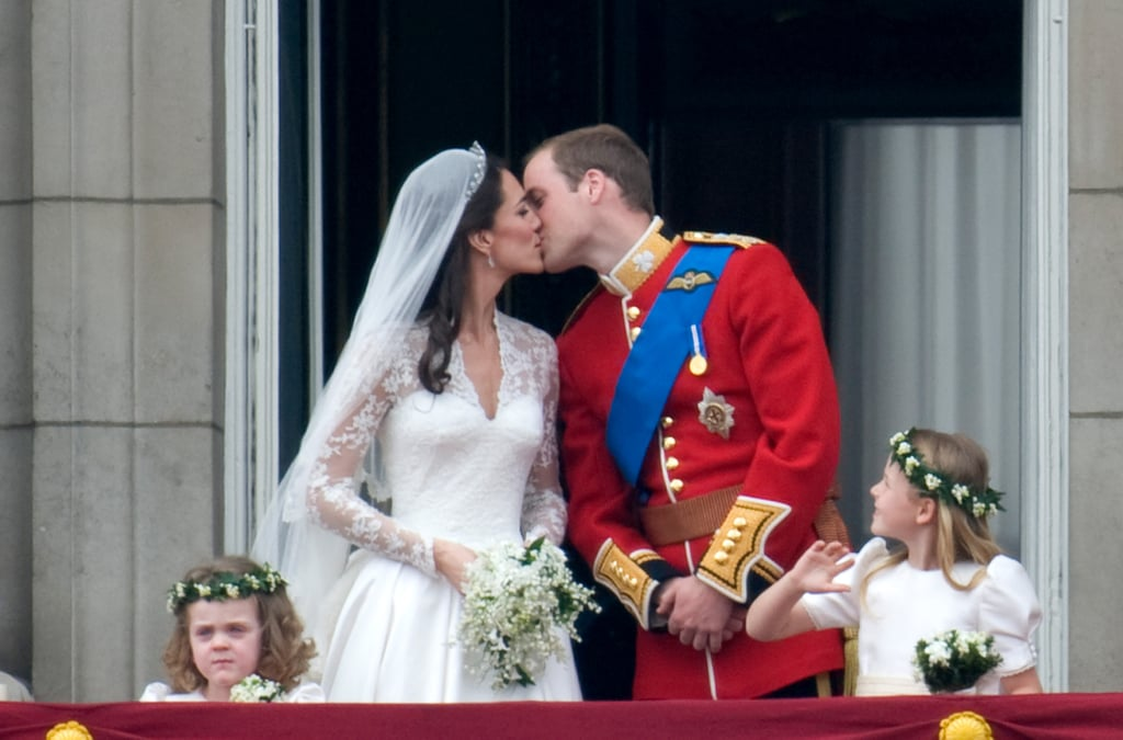 Kate Middleton and Prince William shared a kiss on the balcony at Buckingham Palace in April 2011.