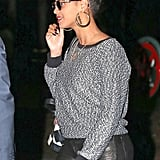 Beyoncé Knowles showed her support for President Obama's reelection campaign on her earrings while out in NYC.