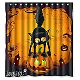 Scary Cat on the Pumpkin Happy Halloween Shower Curtain