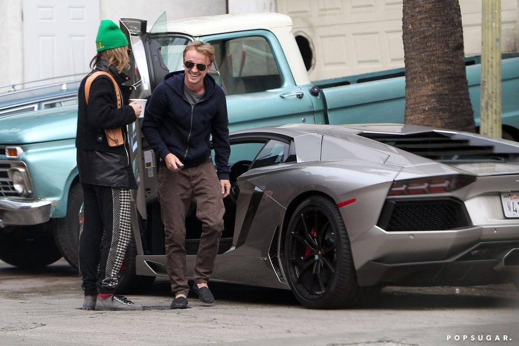 Tom felton driving a lamborghini aventador popsugar Celebrity motors