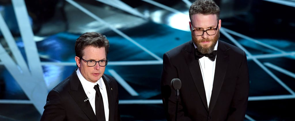 Michael J. Fox and Seth Rogen at the 2017 Oscars