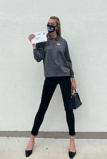 Karlie Kloss Wore a Biden-Harris Mask to Vote