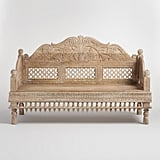 White Antique Carved Wood Bench ($900)