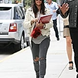 With a couple of strategic rips and a slick moto jacket, Kourtney took denim from everyday to trendsetting.
