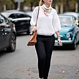 Style a Silk Scarf With a White Sweater and Silver Shoes