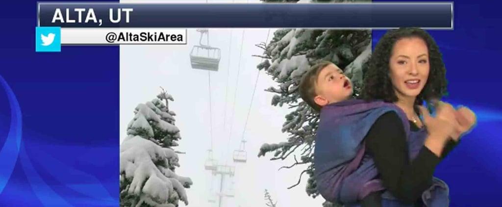 Meteorologist Wears Baby on Camera