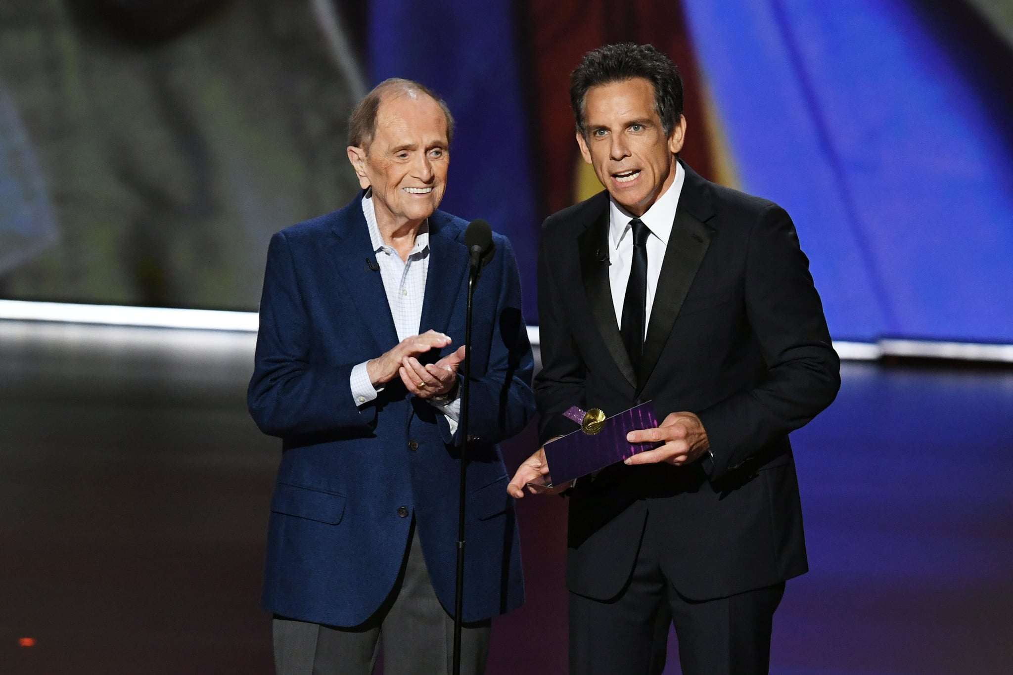 LOS ANGELES, CALIFORNIA - SEPTEMBER 22: (L-R) Bob Newhart and Ben Stiller speak onstage during the 71st Emmy Awards at Microsoft Theater on September 22, 2019 in Los Angeles, California. (Photo by Kevin Winter/Getty Images)