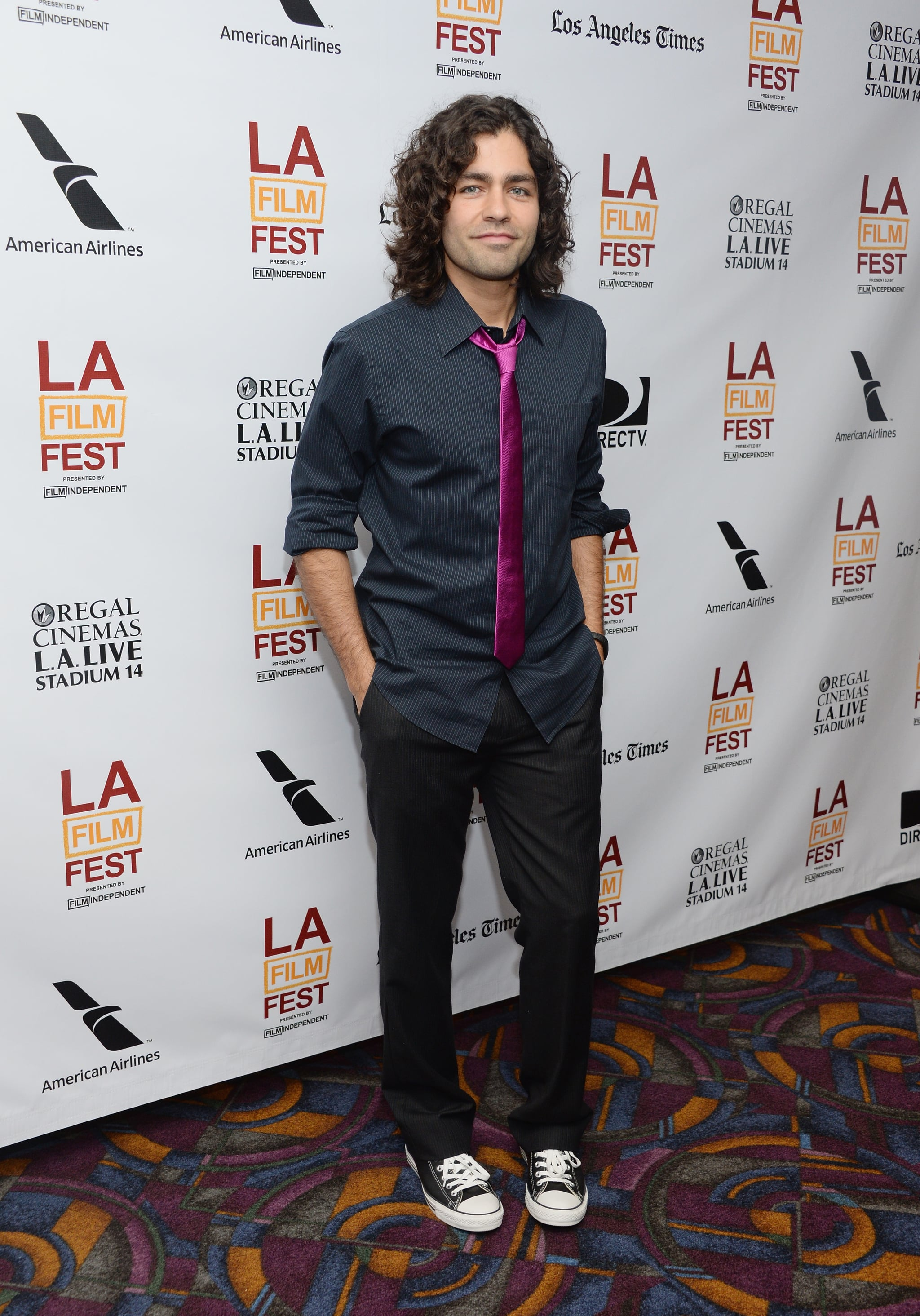 Adrian Grenier wore a pink tie for Goodbye World.