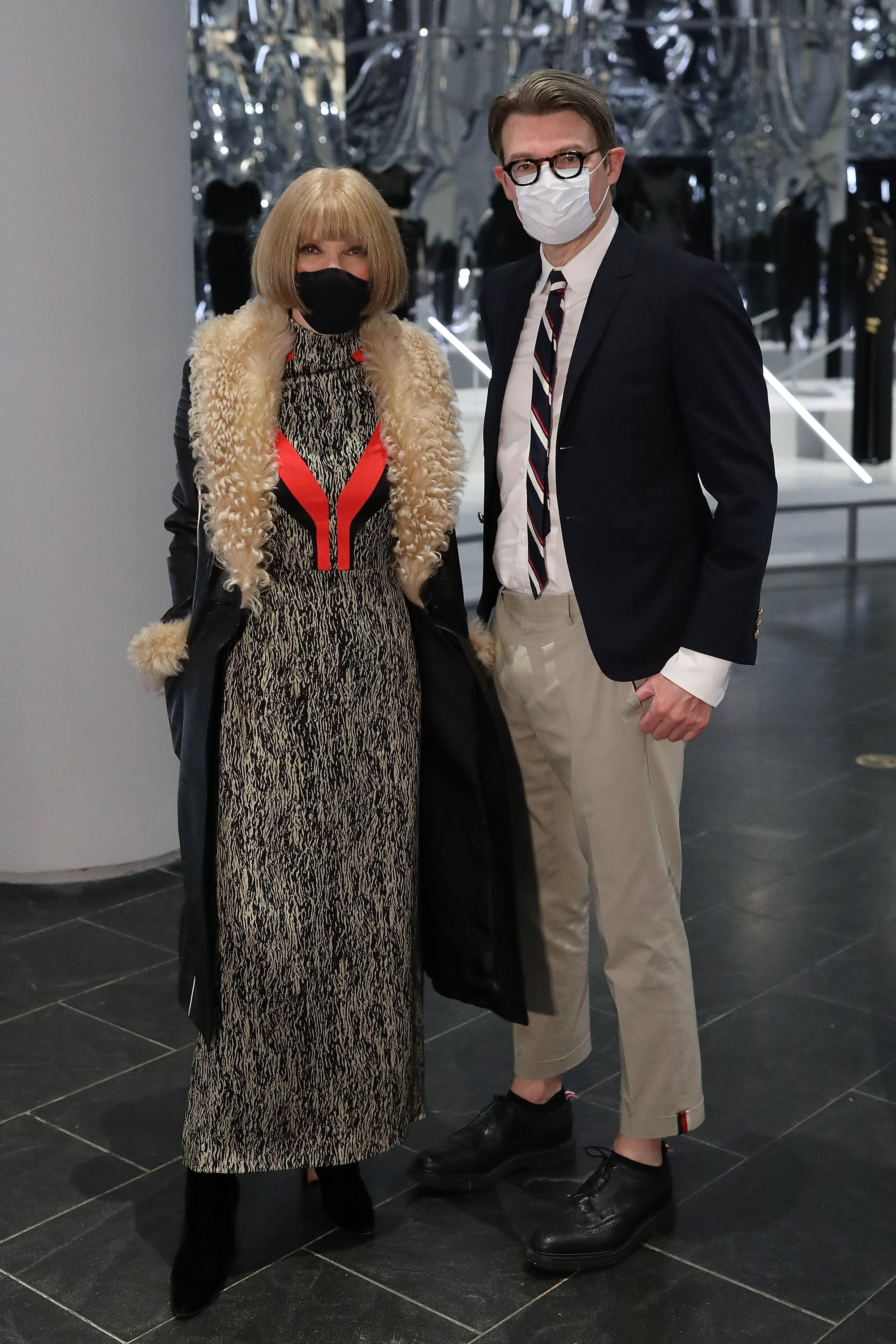 NEW YORK, NEW YORK - OCTOBER 26: Anna Wintour and Andrew Bolton attend the press preview for the Costume Institute's annual exhibition