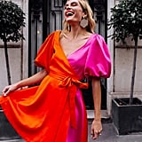 The Drop Cherry Tomato and Fuchsia Colour-Block Puff-Sleeve Wrap Mini Dress by @officiallyquigley
