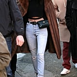Kendall Jenner Jeans and Fishnet Tights in Paris Jan. 2017