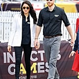 Meghan Markle wearing Mother Denim Jeans, Altuzarra Blazer, Tabitha Simmons Pumps and Illesteva Sunglasses