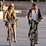 Leo and his Victoria's Secret Angel girlfriend Erin Heatherton rode bikes in NYC together in June 2012.