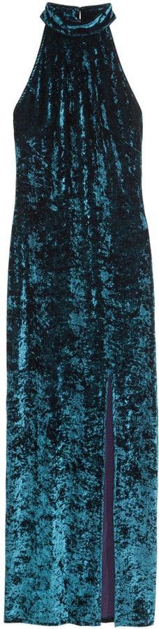 H&M Crushed-velvet Maxi Dress Dark turquoise ($50)