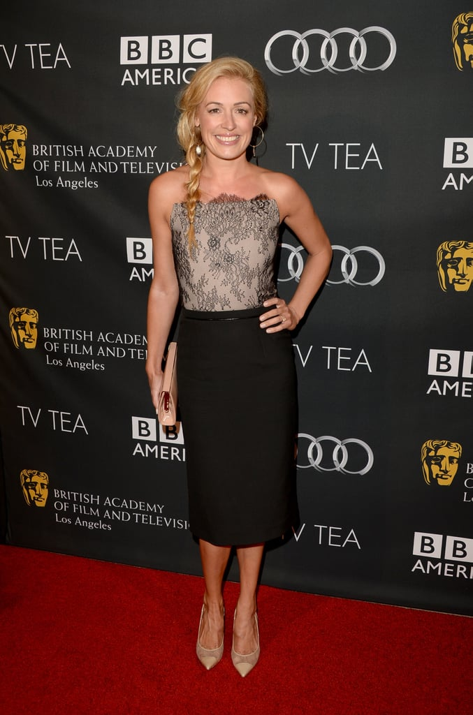 At the BAFTA LA TV Tea Party in Beverly Hills, Cat Deeley showed off her sophisticated side in an ensemble featuring a lace bustier top and black pencil skirt, finished with Jimmy Choo accessories.