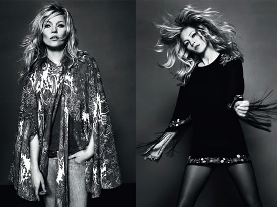 Photos de Kate Moss qui pose pour sa derniere collection Topshop