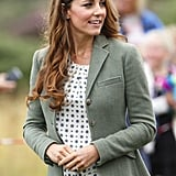 Kate wore a pattered Zara blouse for $59 at an engagement in Wales just after the birth of Prince George — she had previously worn it on a trip to Switzerland.