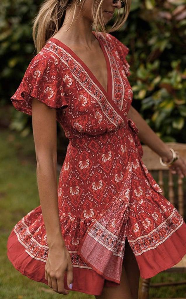 Zesica Summer Wrap V-Neck Bohemian Floral Print Dress
